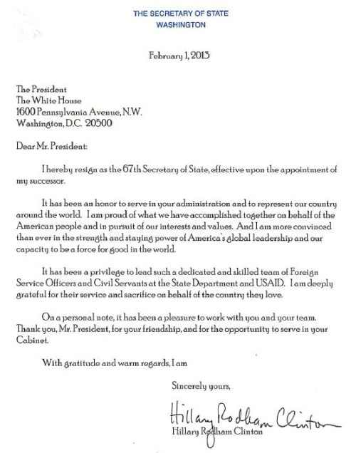 clinton s resignation letter the quote